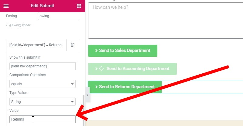 Change The Value To Returns, As Per The Dropdown Field's Corresponding Value