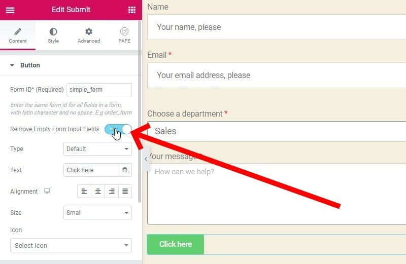 Enable The Setting To Remove Empty Form Input Fields From A Form That's Sent