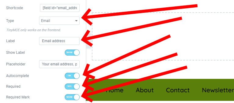 Add A Label Called Email Address, A Placeholder, Set To Autocomplete, Make It A Required Field And Show The Required Mark