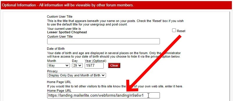 Add Your Signup Box Url To The Home Page Url Field