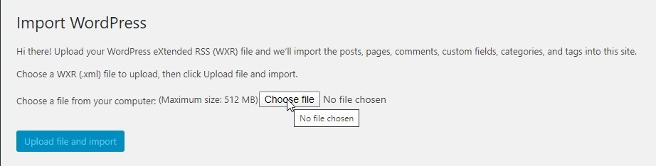Click The Choose File Button To Upload The File You Exported Earlier