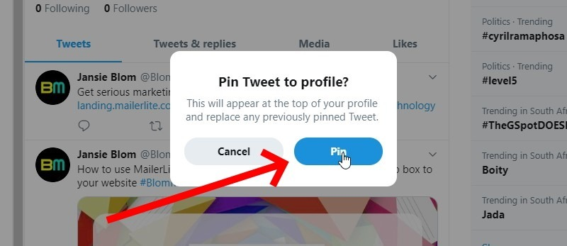 Click The Pin Button To Confirm