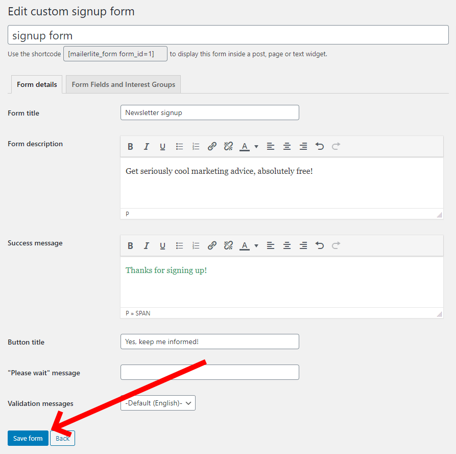 Click The Save Form Button