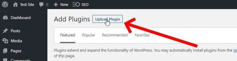 Click The Upload Plugin Button