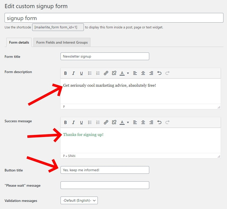 Edit The Fields Of Your Custom Form