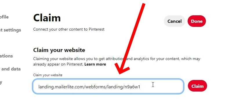 Paste The Signup Form Url Into The Box With The Heading, Claim Your Website