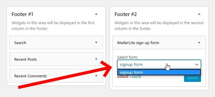The Widget Has A Dropdown From Which You Can Choose The Appropriate Signup Form, In The Event You Created More Than One Form