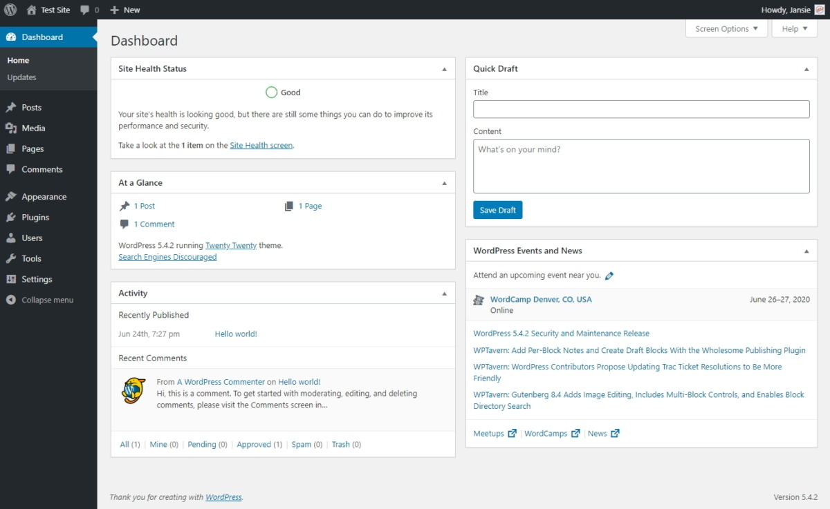 This Is What The Stock Standard WordPress Admin Dashboard Looks Like When You Log In
