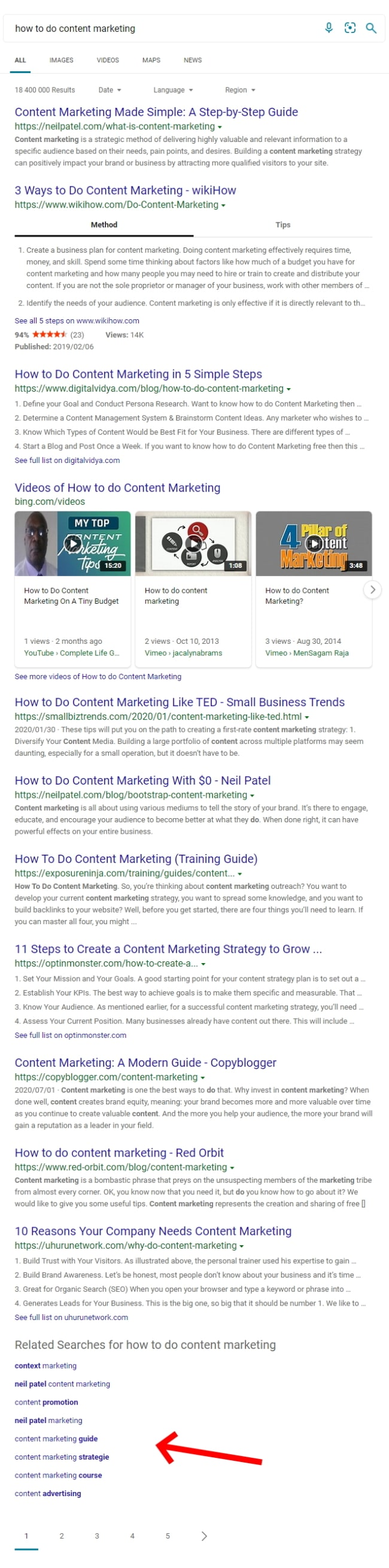 A Bing Search Results Page For The Search Term, How To Do Content Marketing. Notice The Related Searches At The Bottom Of The Page