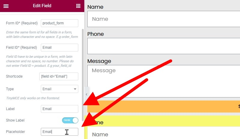 Change The Label And Placeholder Fields To Email