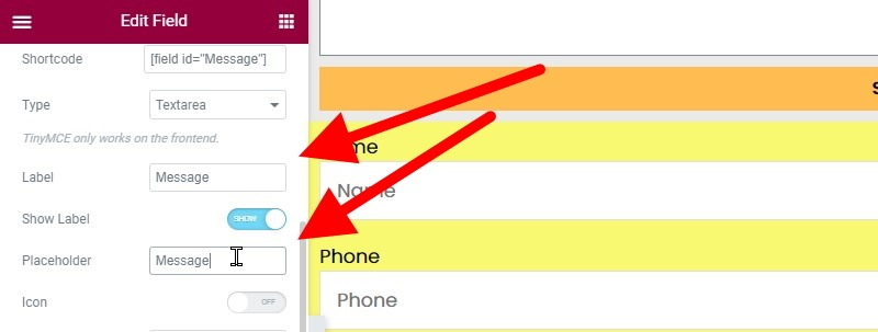 Change The Label And Placeholder Fields To Message