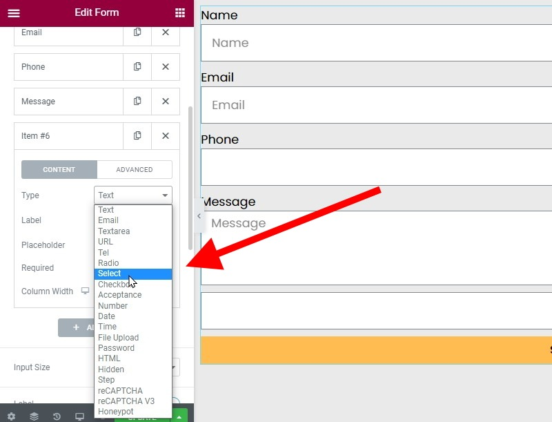 Click On The Type Field To Reveal A Dropdown (or Drop Up) Select Field And Choose The Select Option