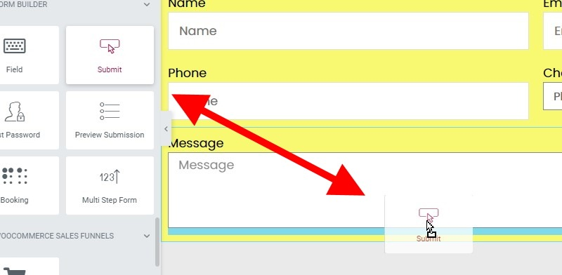 Drag The Button Field Into The Section Below The Message Field