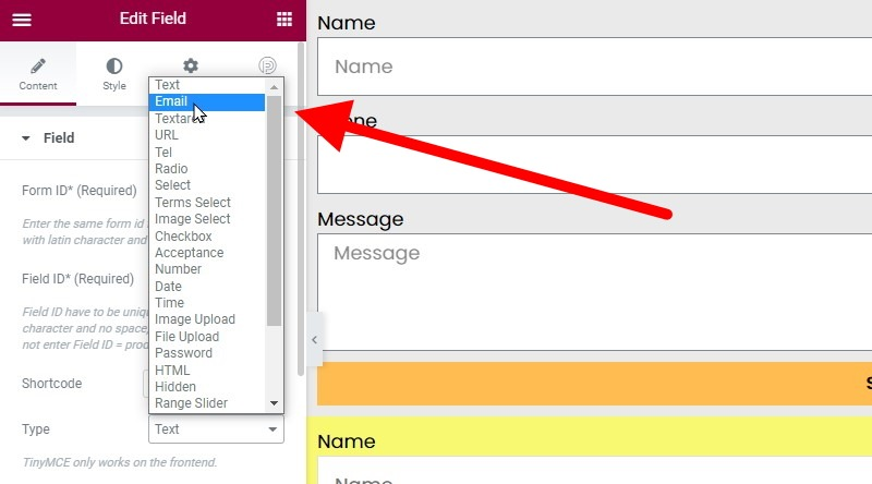 In The Type Dropdown (drop Up) Choose Email