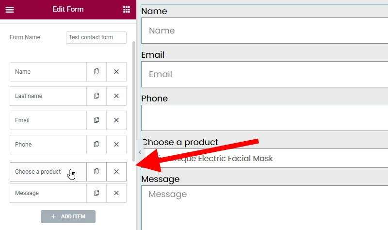 Move The Product Select Field Above The Message Field