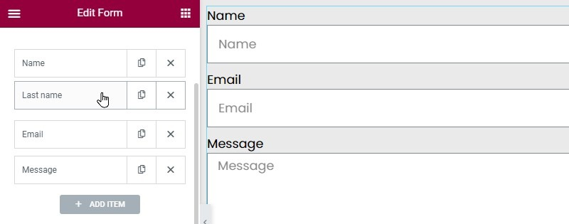 (optional Step.) Click On The Last Name Field, Hold Down The Button And Drag The Field Up To Below The Name Field