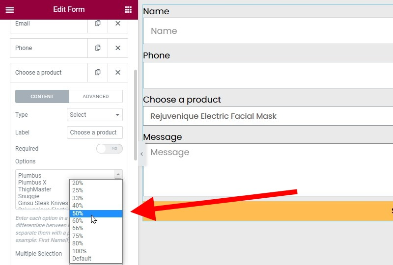 Set The Choose A Product Field To 50%