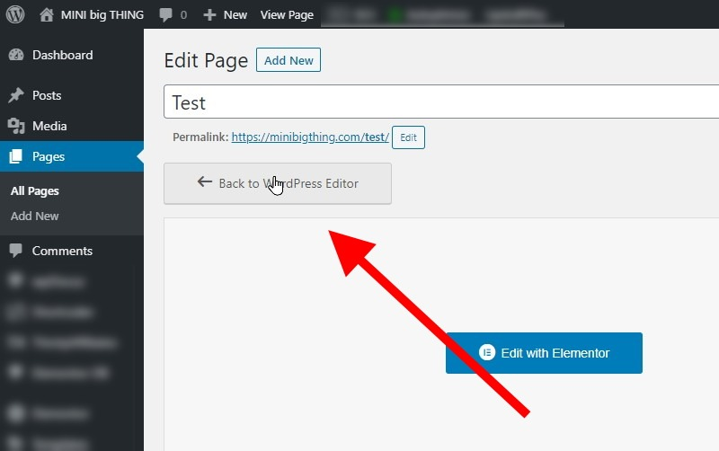 Simply Click The Back To WordPress Editor Button