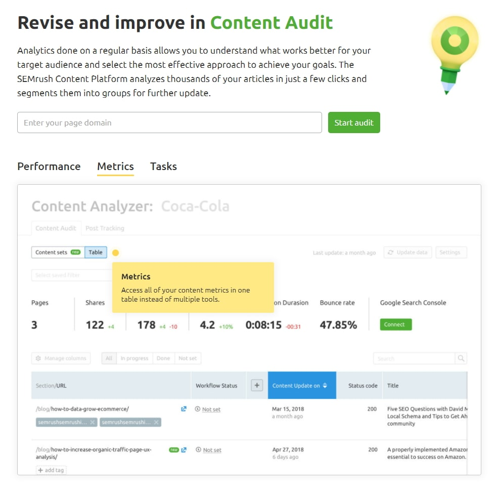 The Content Audit Screen