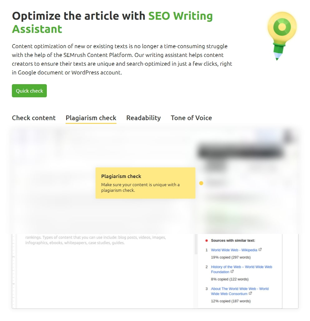 The Seo Writing Assistant Screen