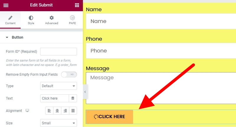 Your Form Now Has A Generic Submit Button With The Text, Click Here