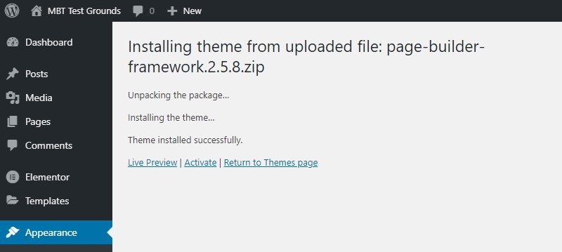 A Theme Was Successfully Uploaded