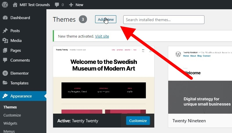 Click The Add New Button At The Top Of The Page