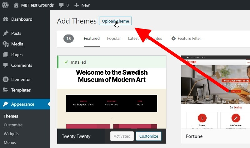 Click The Upload Themes Button At The Top