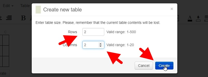 In The Box That Pops Open, Change The Rows And Columns To Your Requirements. We'll Make Them 2 And 2. Then Click Create