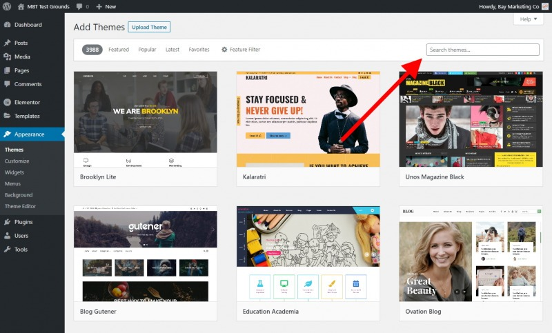 The Add Themes Page Contains A Search Bar
