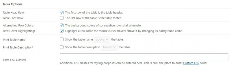 The Table Options Section