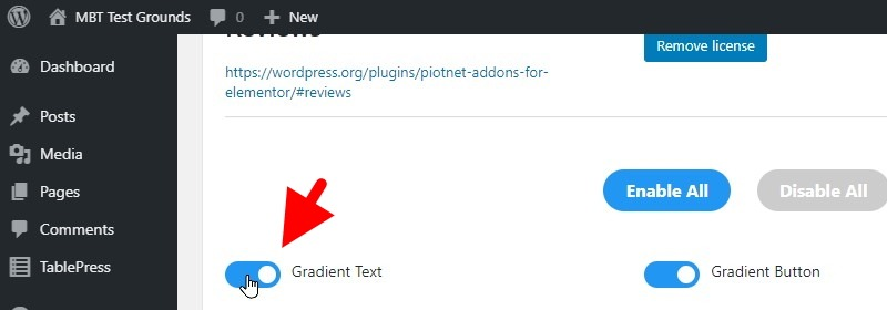 Ensure The Gradient Text Option Is Active
