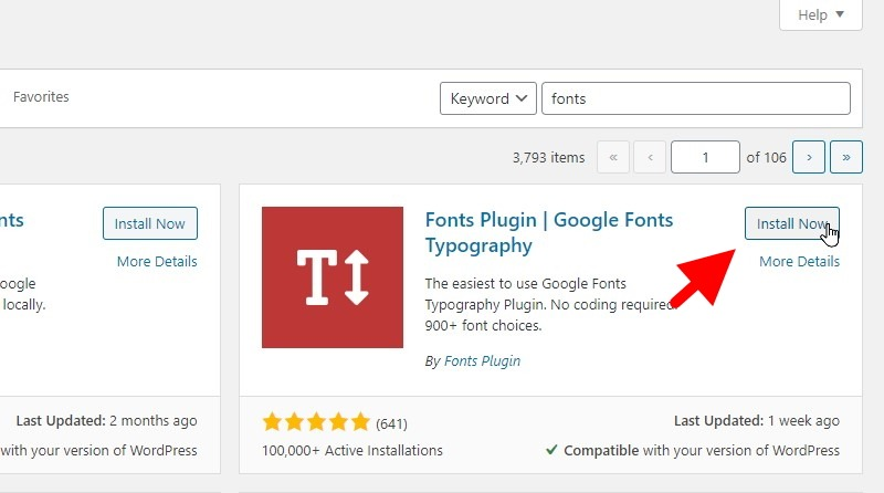Click The Install Button For The Fonts Plugin Google Fonts Typography Plugin
