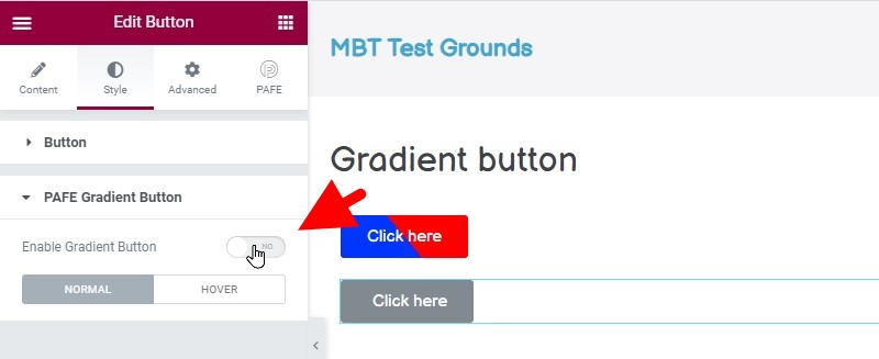 Enable The Gradient Button Functionality