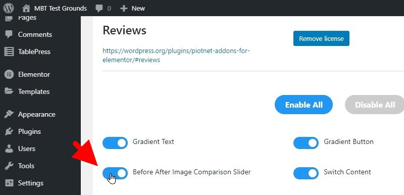 Ensure The Before After Image Comparison Slider Option Is Active