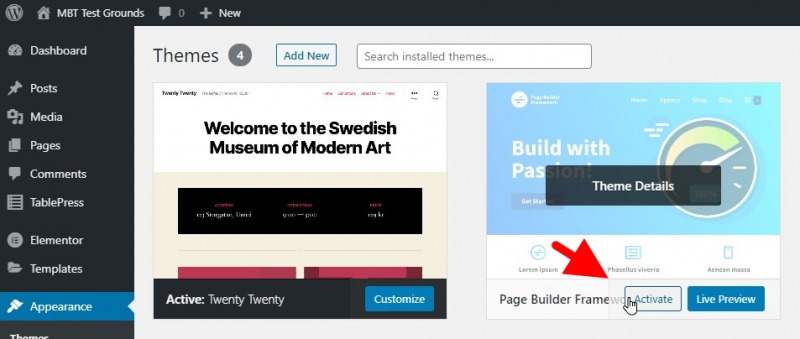Hover Over The Page Builder Framework Image, Then Click On The Button That Says Activate Once It Pops Up