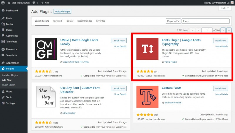 The Fonts Plugin Shows Up Near The Top